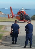 dolphin helo at Point Vicente Lighthouse with USCG crew